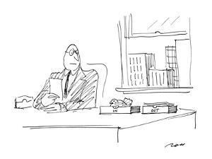 """Man with roosting bird in his """"In"""" box. - New Yorker Cartoon by Al Ross"""