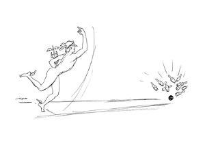 Mercury getting a strike in bowling. - New Yorker Cartoon by Al Ross