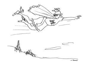 """Mercury with cape and an """"M"""" on his cosutme. - New Yorker Cartoon by Al Ross"""
