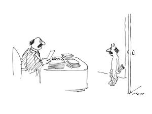 Pan enters an office, looking exactly like a businessman he sees behind a ? - New Yorker Cartoon by Al Ross