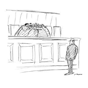 The Supreme Court huddles behind a bench while a man waits before them. - New Yorker Cartoon by Al Ross