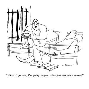 """""""When I get out, I'm going to give crime just one more chance!"""" - New Yorker Cartoon by Al Ross"""