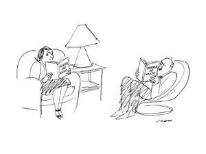 """Woman reading book """"Murder, She Wrote"""" while her husband reads """"Murder, He? - New Yorker Cartoon by Al Ross"""