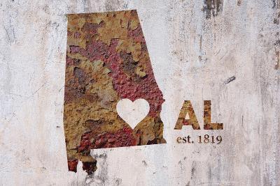 AL Rusty Cementwall Heart-Red Atlas Designs-Giclee Print
