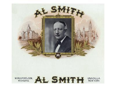 Al Smith Brand Cigar Box Label, Former Governor of New York-Lantern Press-Art Print