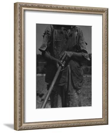 Alabama African American Tenant Farmer Holding a Hoe, June 1936-Dorothea Lange-Framed Photo