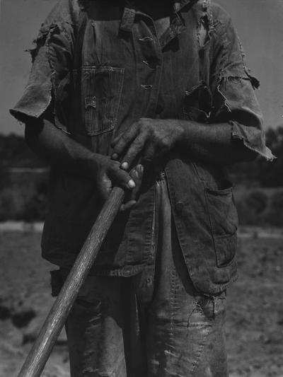 Alabama African American Tenant Farmer Holding a Hoe, June 1936-Dorothea Lange-Photo