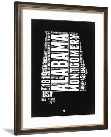 Alabama Black and White Map-NaxArt-Framed Art Print