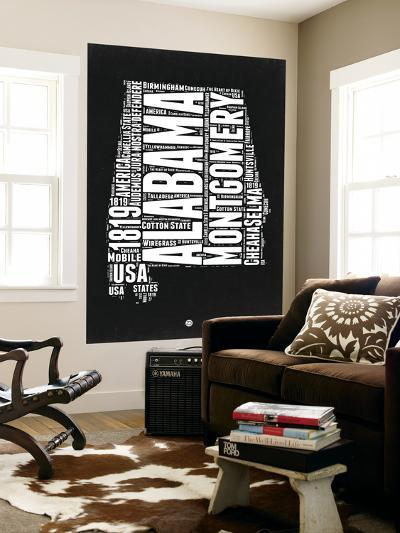 Alabama Black and White Map-NaxArt-Wall Mural