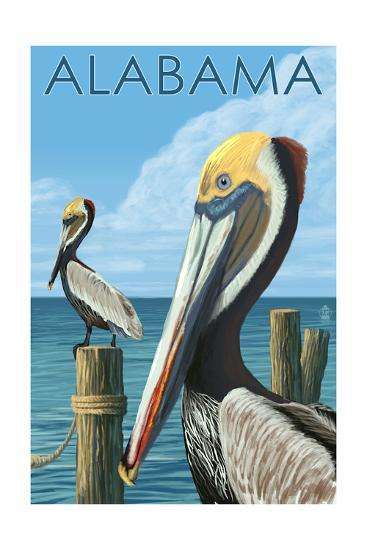 Alabama - Brown Pelicans-Lantern Press-Art Print