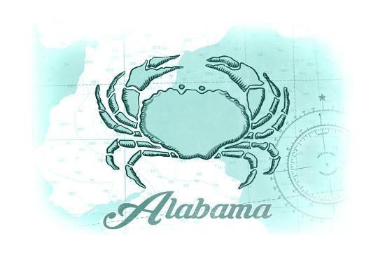 Alabama - Crab - Teal - Coastal Icon-Lantern Press-Art Print
