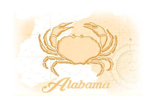 Alabama - Crab - Yellow - Coastal Icon-Lantern Press-Art Print