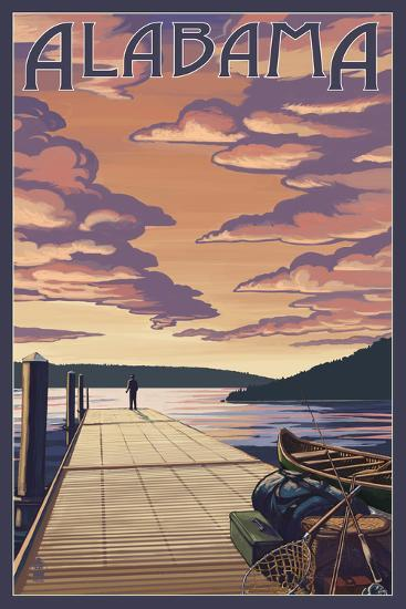 Alabama - Dock Scene and Lake-Lantern Press-Art Print