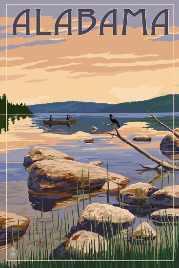 Alabama - Lake Sunrise Scene-Lantern Press-Art Print