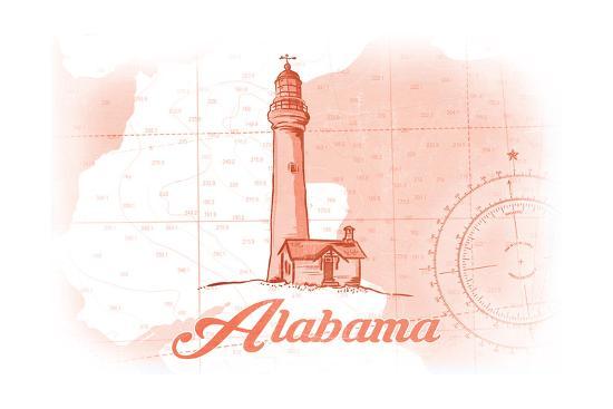 Alabama - Lighthouse - Coral - Coastal Icon-Lantern Press-Art Print