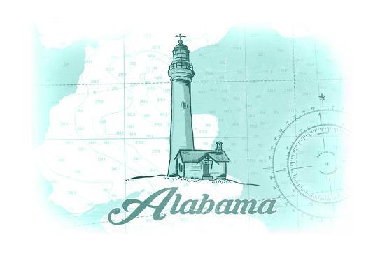 Alabama - Lighthouse - Teal - Coastal Icon-Lantern Press-Art Print