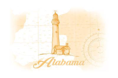 Alabama - Lighthouse - Yellow - Coastal Icon-Lantern Press-Art Print