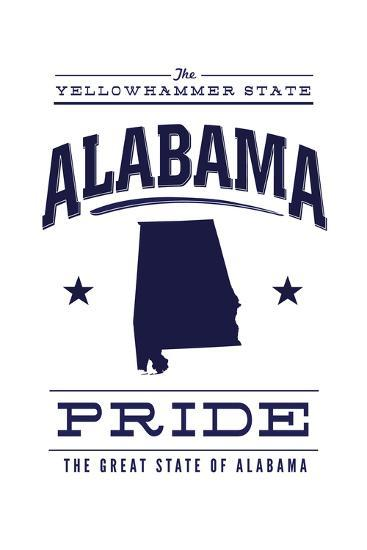 Alabama State Pride - Blue on White-Lantern Press-Art Print