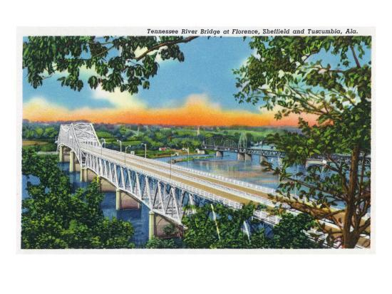 Alabama - View of the Tennessee River Bridge at Florence, Sheffield, and Tuscumbia, c.1947-Lantern Press-Art Print