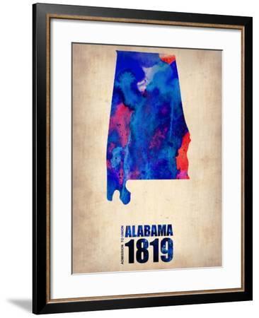 Alabama Watercolor Map-NaxArt-Framed Art Print