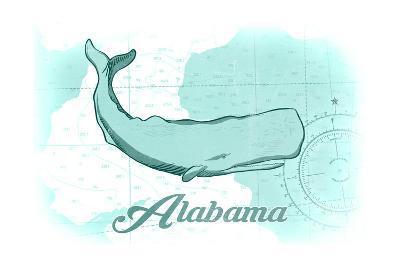 Alabama - Whale - Teal - Coastal Icon-Lantern Press-Art Print