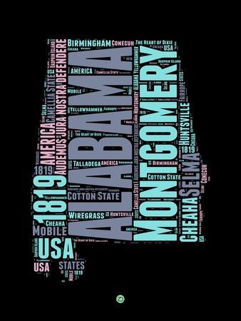 Alabama Word Cloud 1-NaxArt-Art Print