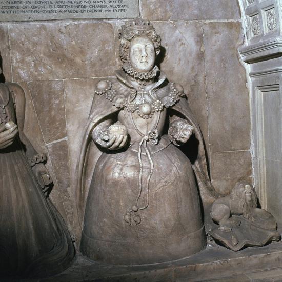 Alabaster statue of Queen Elizabeth I, 16th century-Unknown-Giclee Print