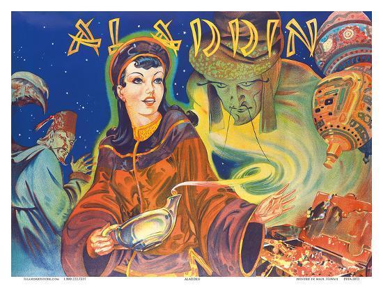Aladdin: London Pantomime Theatre Poster, c.1930s--Art Print