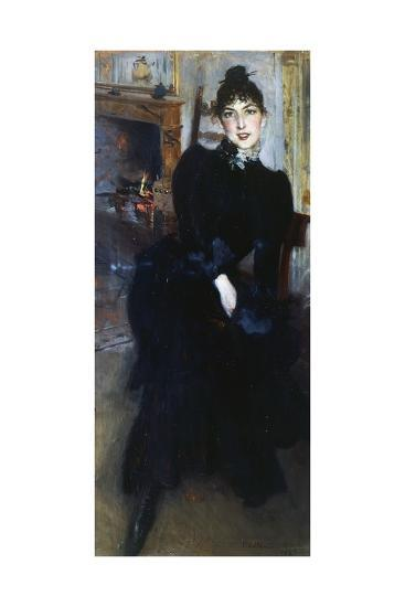 Alaide Banti at the Fireplace-Giovanni Boldini-Giclee Print