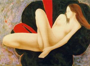 Nu au sofa rouge et noir by Alain Bonnefoit