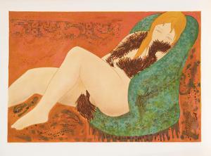 Nude in Green Chair by Alain Bonnefoit