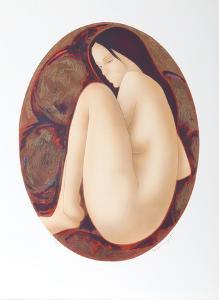 Seated Brunette Nude by Alain Bonnefoit