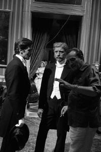 "Alain Delon, Burt Lancaster and director Luchino Visconti on set of film ""The Leopard"", 1962 (b/w p"