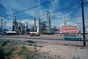 Conoco Petroleum Refinery from Amtrak Train, Usa, 1979 by Alain Le Garsmeur