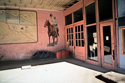 Tire Repair Place with Western Mural, Downtown Las Vegas, New Mexico, Usa, 1979