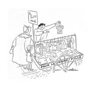 Street peddler with cart of children's clothes; sign on cart reads 'Pour L? - New Yorker Cartoon by Alain