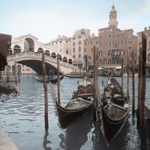 Rialto Bridge Gondolas by Alan Blaustein