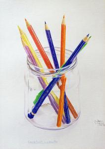 Coloured Pencils in a Jar, 1980 by Alan Byrne