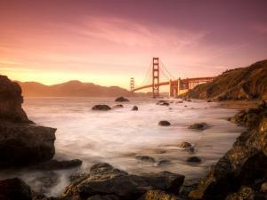 California, San Francisco, Golden Gate Bridge from Marshall Beach, USA by Alan Copson