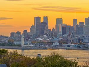 Canada, Quebec, Montreal, Downtown from Jacques Cartier Bridge across Saint Lawrence River by Alan Copson