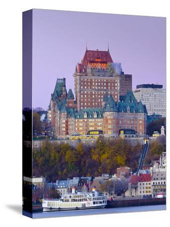 Canada, Quebec, Quebec City, Vieux Quebec or Old Quebec across Saint Lawrence River or Fleuve Saint