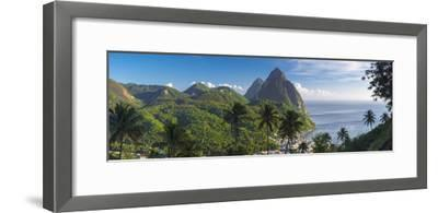 Caribbean, St Lucia, Petit and Gros Piton Mountains