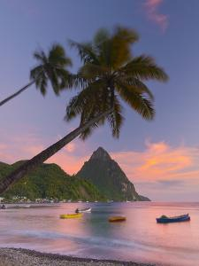 Caribbean, St Lucia, Soufriere Bay, Soufriere Beach and Petit Piton, Traditional Fishing Boats by Alan Copson