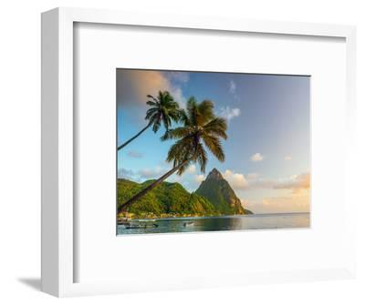 Caribbean, St Lucia, Soufriere Bay, Soufriere Beach and Petit Piton, Traditional Fishing Boats