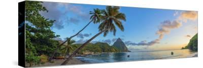 Caribbean, St Lucia, Soufriere, Soufriere Bay, Soufriere Beach and Petit Piton