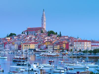 Croatia, Istria, Rovinj, Harbour and Cathedral of St. Euphemia by Alan Copson