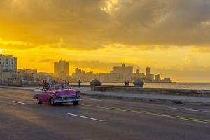 Cuba, Havana, The Malecon, Classic 1950's American car by Alan Copson