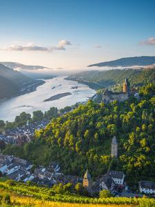Germany, Rhineland Palatinate, Bacharach and Burg Stahleck (Stahleck Castle), River Rhine by Alan Copson