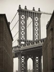 Manhattan Bridge and Empire State Building, New York City, USA by Alan Copson