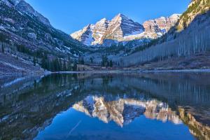 Maroon Bells Mountain and Maroon Lake, Colorado by Alan Copson